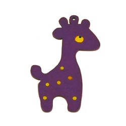 Houten hanger Giraf. 28x50mm. Paars.