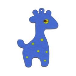 Houten hanger Giraf. 28x50mm. Blauw.