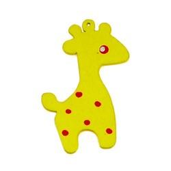 Houten hanger Giraf. 28x50mm. Geel.