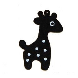 Houten hanger Giraf. 28x50mm. Zwart.