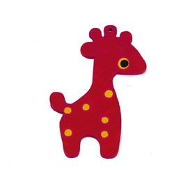 Houten hanger Giraf. 28x50mm. Rood.