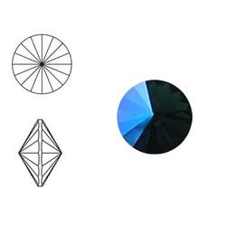 SWAROVSKI ELEMENTS Swarovski Rivoli steen (punt). MM12.0. 12mm. Emerald GLCR. Blue.