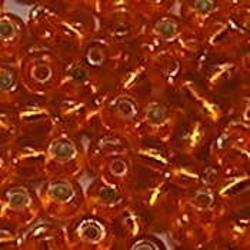 PRACHT Rocailles. Oranje met zilverkern. 4,5mm. ca. 17 gram voor