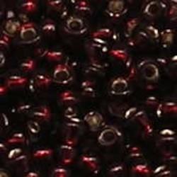 PRACHT Rocailles. Donker Siam met zilverkern. 4,5mm. ca. 17 gram voor
