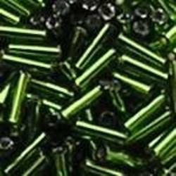 PRACHT Stiftkraal. 6mm. Groen met zilverkern. 17gr. in een doosje.