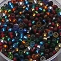 PRACHT Rocailles Mix. Zilverkern. Colors/Mat. 2.6mm. +/- 17 gram voor