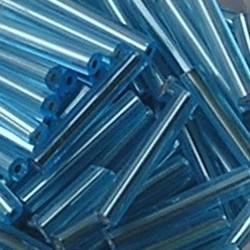 PRACHT Stiftkraal. 15mm. Licht Aqua met zilverkern. 17gr. in een doosje.
