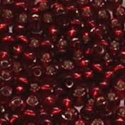 PRACHT Rocailles. Light Siam met zilverkern. 4,5mm. ca. 17 gram voor