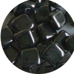 2 Hole Square Beads 6x6mm. Hematiet.