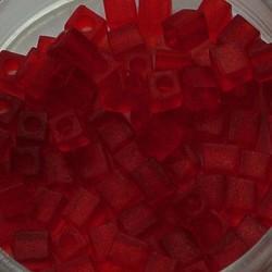 MIYUKI KRALEN Miyuki 4x4mm. Kubus Beads Matte Transparant Red.