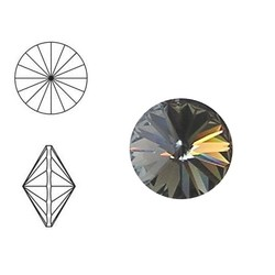 SWAROVSKI ELEMENTS Swarovski Rivoli steen (punt). SS39. 8mm. Black Diamond.