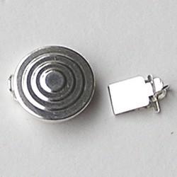 Sterling Zilveren Sluiting. 12mm. Circles Rond/Plat. (lichter dan foto)