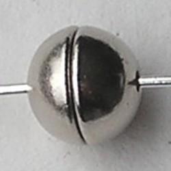 Magneetsluiting. Bolletje. 6mm. Zilverkleurig.
