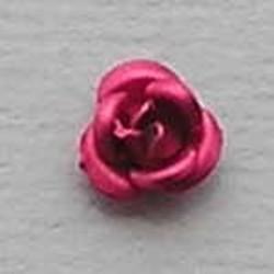 Metalen Roosje. Fuchsia. 6mm.