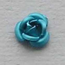 Metalen Roosje. Aqua. 6mm.