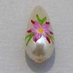 Handbeschilderde Glasparel. Roze Lila Groen. 6x11mm. Druppel.