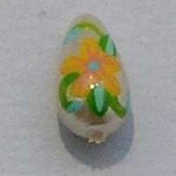 Handbeschilderde Glasparel. Blauw Oranje Groen. 6x11mm. Druppel.