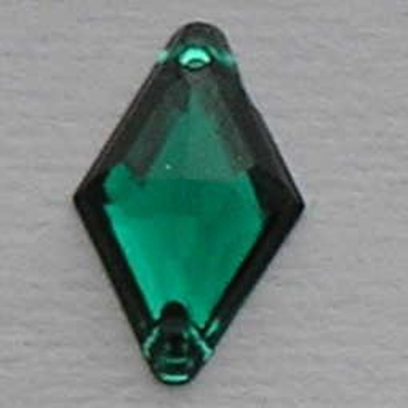 Acryl Opnaai-wyber. 12x18mm. Emerald met 2 gaatjes.