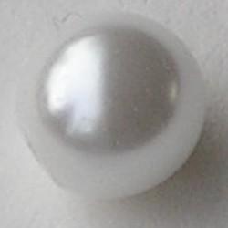Glasparel met 1/2 gat. White. 8mm. (Tsjechisch)