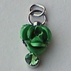 Metalen Roosje aan hanger met Strass. Groen. 7x10mm.