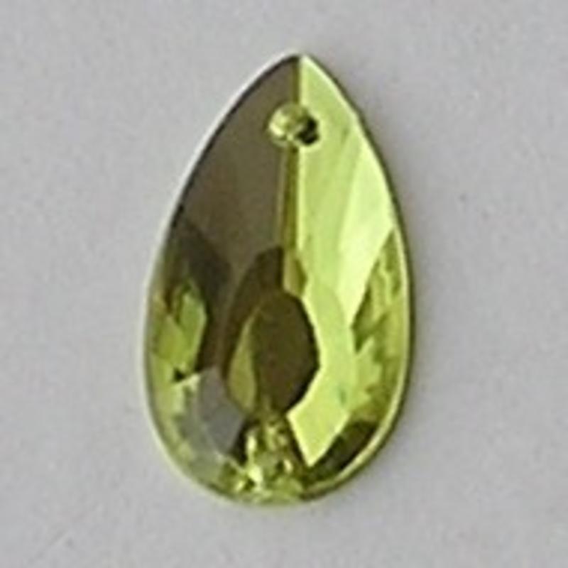 Acryl Opnaai-druppel. 12x21mm. Lime met 2 gaatjes.