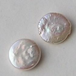 Zoetwaterparel. Coin. A Kwaliteit. White. ca. 12mm. Per stuk voor