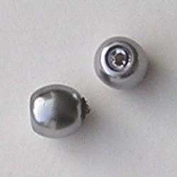 Glasparel. Lichtgrijs. 10mm. Tonvormig met rijggat 2.2mm.