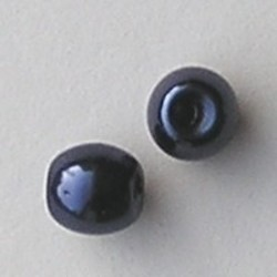 Glasparel. Donkerblauw. 10mm. Tonvormig met rijggat 2.2mm.