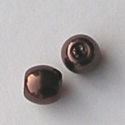 Glasparel. Bruin. 10mm. Tonvormig met rijggat 2.2mm.