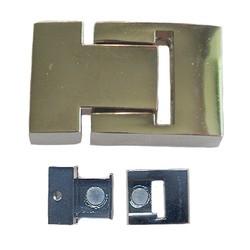 Magneetsluiting 20x31mm. Voor 14x2mm. plat leer. Zilverkleurig.