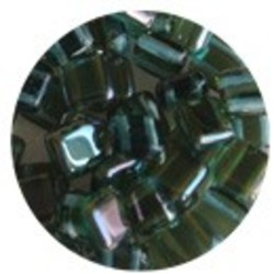 2 Hole Square Beads 6x6mm. Aqua Celsian.