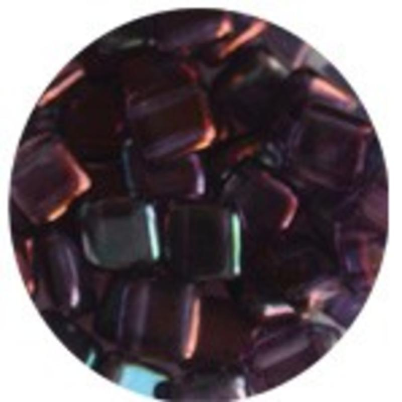 2 Hole Square Beads 6x6mm. Amethyst Bronze.