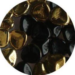 Petal Bead. 8x7mm. Jet Brass