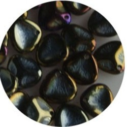 Petal Bead. 8x7mm. Jet Brown Iris.