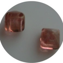 Two Hole Pyramide Bead. 6mm. Crystal Redbronze Luster.
