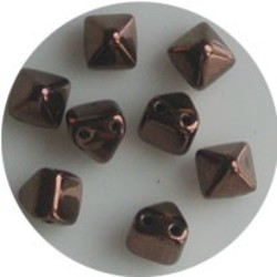 Two Hole Pyramide Bead. 6mm. Jet Chocolate Luster.