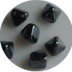 Two Hole Pyramide Bead. 6mm. Hematite.