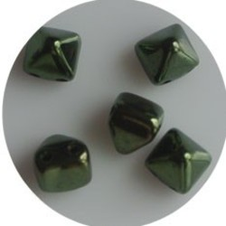 Two Hole Pyramide Bead. 6mm. Metallic Green Luster..