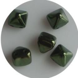Two Hole Pyramide Bead. 6mm. Metallic Green Luster..