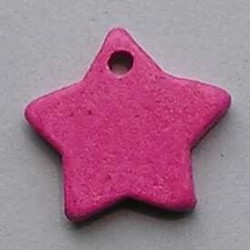 Keramiek Hanger. Ster. 25mm. Roze.