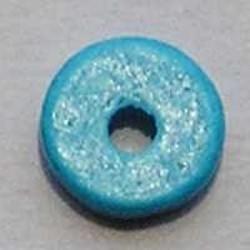 Keramiek Schijfje. 12mm. Aqua. Per stuk voor
