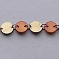 Ketting. Brons. 10mm.Rond/Plat. met Oranje/Bruine schelp Knoopjes. Per 50cm.