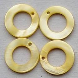 Parelmoer Ring. 15mm. Geel. 10 stuks voor