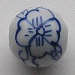 Delfsblauwe Porseleinkraal. 24mm.