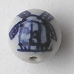 Delftsblauwe Porseleinkraal. Rond met molentje. 15mm.