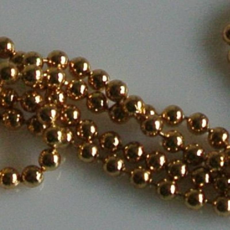 Ball Chain Ketting. 2.5mm. Goudkleurig. 0.50 meter voor.
