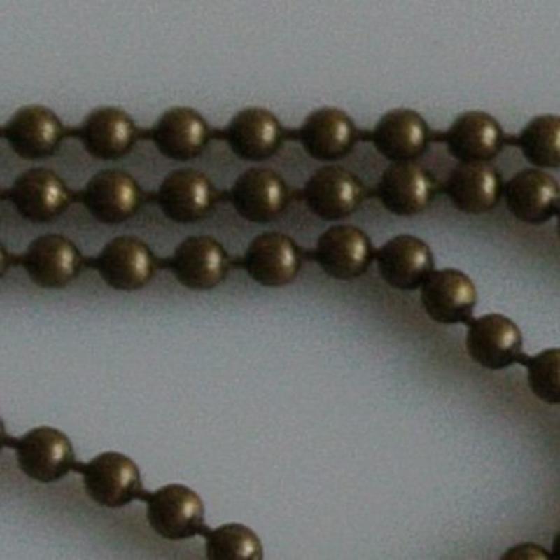 Ball Chain Ketting. 2.5mm. Bronskleurig. 0.50 meter voor.