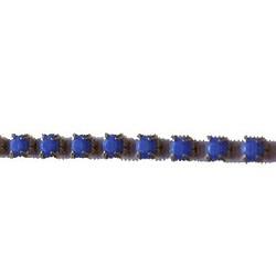 Strassband. 3mm. Blue Opal. Goud. Per 10 cm.