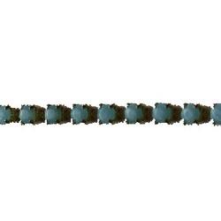 Strassband. 3mm. Aqua Opal. Goud. Per 10 cm