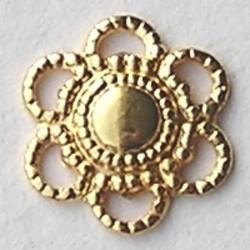 Ornamentje Brass. Bloemetje. 12mm. Goudkleurig.